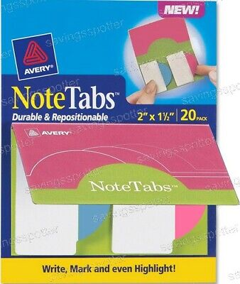 Avery Notetabs Books 2 X 1.5 Note Tabs Round Edge Neon Magenta Pink Blue 20