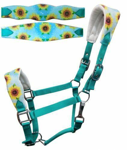 Showman Adjustable Turquoise Nylon Bronc Halter w/Sunflower Print