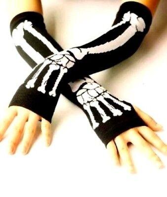 Skeleton Arm Gloves (Long Skull Black White Skeleton Elastic Fingerless Arm Warmers Elbow Gloves)