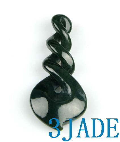 Natural Nephrite Jade Triple Twist Pendant Greenstone Necklace Maori Pounamu