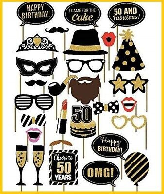 29PCS 50th Fiftieth Year Birthday Party Supplies Masks Favor Photo Booth Props  ()