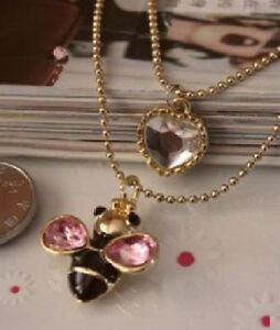 Betsey Johnson Dangling Honey Bee with Gem Heart Necklace