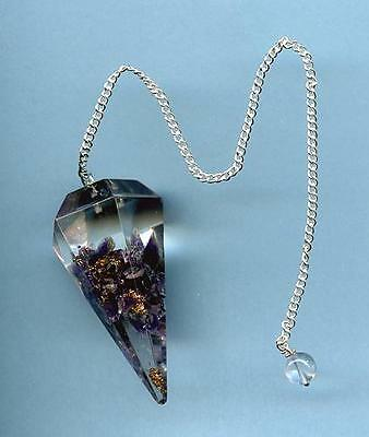 Orgonite Amethyst Multi-sided Pendulum   Free Pouch!!     ~Divination/Scrying