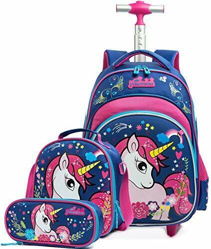 Girls Unicorn Rolling Backpacks Kids Backpack with Wheels for Girls 01 Blue