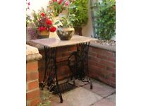 Patio / Conservatory Cast Iron Marble Top Treadle Table (Courier)