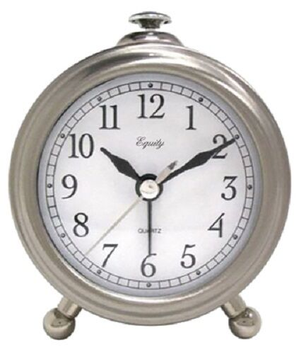 La Crosse, Brushed Silver Metal Case Table Alarm Clock