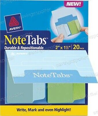 Avery Notetabs Books 2 X 1.5 Note Tabs Cool Blue Green 20 Pk