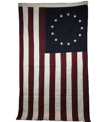 Betsy Ross Cotton Natural Flag   Large 3Ft X 5Ft Free Shipping