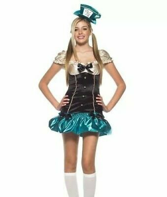 TEEN Costume TEA PARTY HOSTESS Mad Hatter Alice in Wonder Girl Junior Tween M/L - Girls Wonderful Alice Costume
