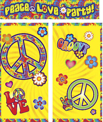 HIPPIE GENERATATION Scene Setter Happy Birthday party wall decor peace sign - Happy Birthday Peace Sign