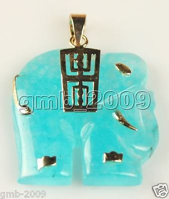 Fashion Men's Women's Elephant Design Natural Light BLue Jade Necklace Pendant  for sale  Shipping to Canada
