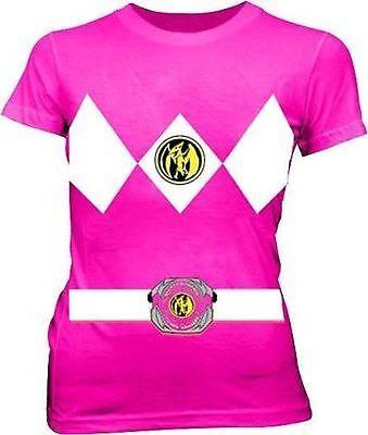 I Am The Pink Power Rangers Junior Mighty Morphin Kostüm T-Shirt Hemd (Mighty Morphin Power Rangers Kostüm Weiß)