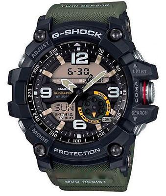 Casio G-Shock Mens Mudmaster Twin Sensor Ana-Digital Blk/Green Watch GG1000-1A3