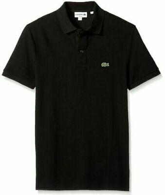 Men's Lacoste Petit Pique Slim Fit Polo Shirt BLACK Size XXL 100% Cotton