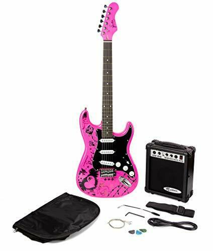 Pink Electric Guitar Pack with Guitar Amplifier, Punk Style
