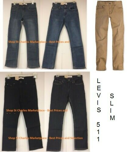 Levi's 511 Slim Blue Jeans for Boys - Adjustable Waistband,