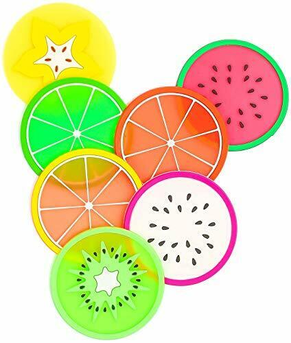 Non Slip Fruit Coaster 7 Pack Silicone Cup Mats