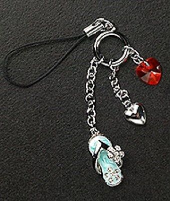 Heart Dangle Red Crystal Enamel Silver Plated Metal Cell Phone Charm Zipper -