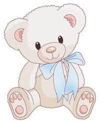 """48 CUTE BABY BOY TEDDY BEAR SHOWER!! STICKER LABEL ENVELOPE SEALS 1.2"""" ROUND"""
