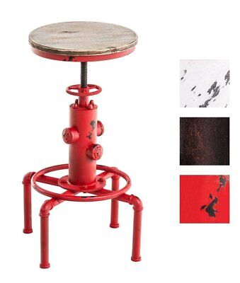 - Industrial Bar Stool Antique Swivel Chair Metal Wood Seat Height Adjustable Red