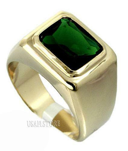 18K Mens Emerald Ring