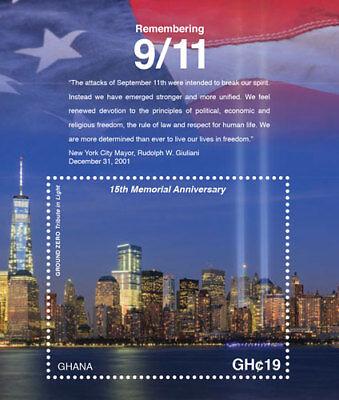 GHANA - 2016 - 15TH MEMORIAL ANNIVERSARY OF 9/11 STAMP SOUVENIR SHEET MNH
