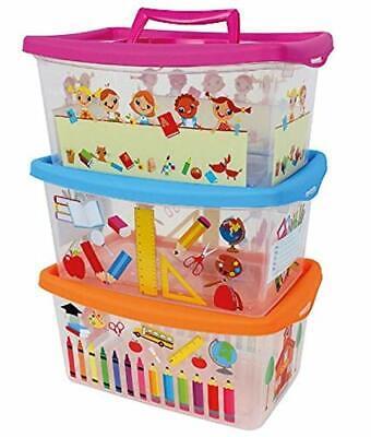 Centini 3er Set - Box mit Deckel für Kinder - 4 Liter - Design Schule  - Aufbewa (Boxen Set Für Kinder)