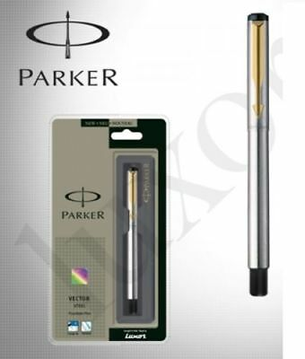 Parker Vector Stainless Steel GT Fountain Pen Fine NIB