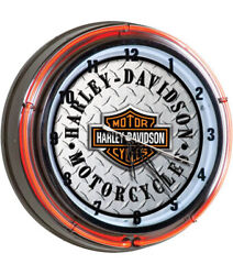 Harley-Davidson Embossed Diamond Plate Face B&S Double Neon Clock HDL-16611