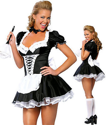 Sexy Ladies Satin French Maid Adult Uniform Fancy Dress Costume Hen Party Outfit