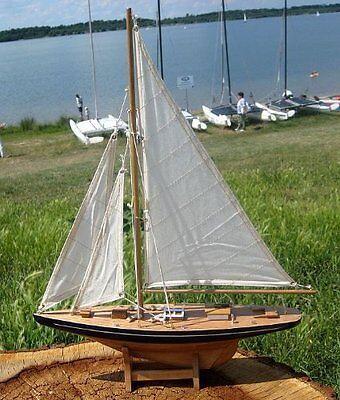 Yacht, Segelschiff, Schiffsmodel Segelyacht 35 cm aus Holz mit Stoffsegel