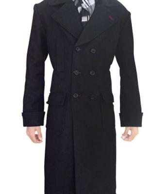 Sherlock Holmes Benedict Cumberbatch Wool Winter Coat Black-Same day Shipping](Overcoat Sherlock)