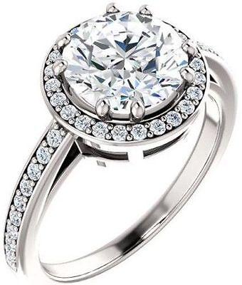 GIA 1.01 carat Round Diamond Engagement Wedding 14k White Gold Halo Ring E VS1