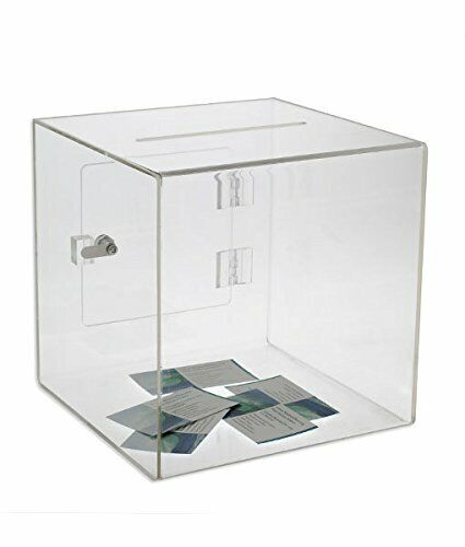 SourceOne Premium Acrylic Cube Donation Box Deluxe Rear Open Door Suggestion Box