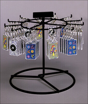 Counter Key Chain Spinner Display Rack - 1 Tier 12 Peg (Black)