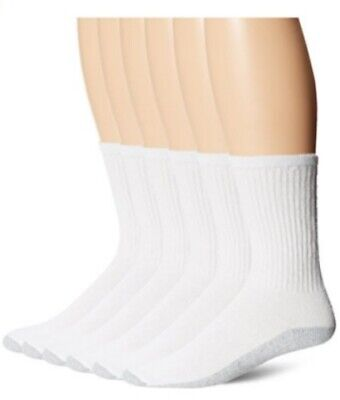 Fruit of the Loom White Cotton Crew Athletic Sock, 6 Pairs, Size 10-13
