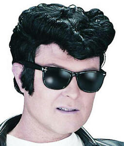 Black-Quiff-Wig-Elvis-1950S-Rock-And-Roll-Danny-Grease-T-Birds-Fancy-Dress