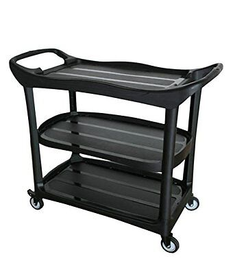 Utility Cart Multi-purpose 3 Shelf Cart With Wheels Black Large
