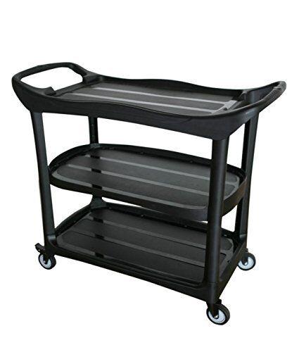 Utility Cart, Multi-Purpose 3 Shelf Cart with Wheels, Black (Large)