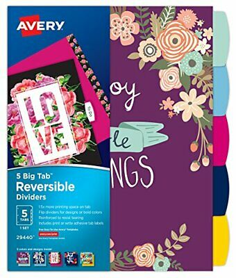 2 Pack Avery 5 Tab Reversible Fashion Binder Dividers Cute Designs 29440 - New
