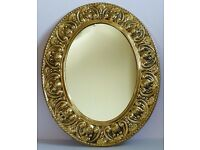 VINTAGE BRASS OVAL WALL MIRROR EXCELLENT CONDITION