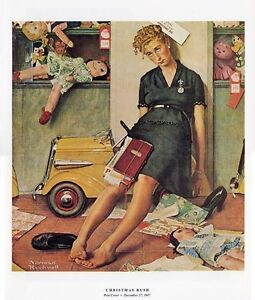 Details about Norman Rockwell Sales Clerk Print CHRISTMAS RUSH