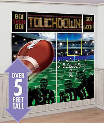FOOTBALL Scene Setter SUPER BOWL party wall decor kit 5'  birthday sports field
