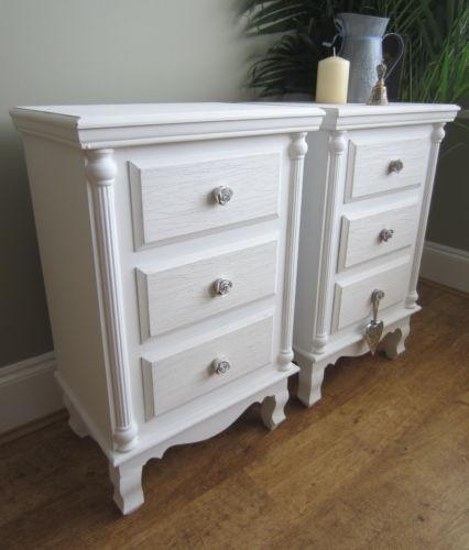 Pair vintage bedside tables ebay for Buy white bedside table