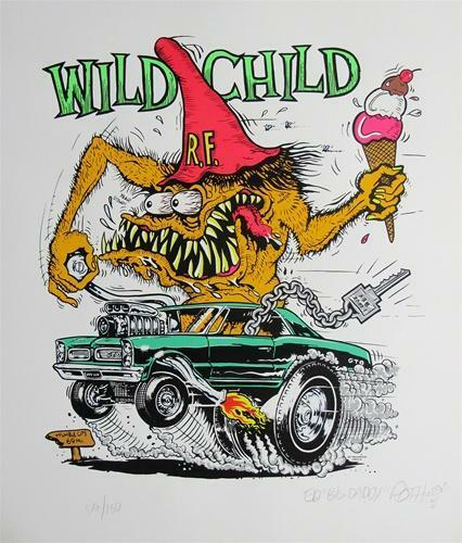 ED BIG DADDY ROTH WILD CHILD RAT FINK SIGNED & NUMBERED ART SILKSCREEN PRINT