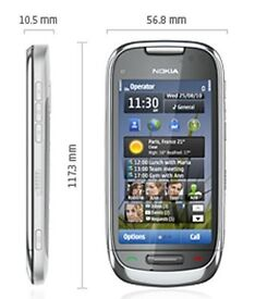 Nokia C7 Mobile Phone - Silver/ Frosty Metal Boxed Like New