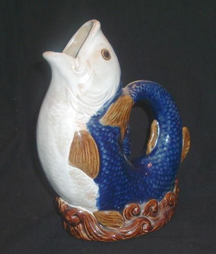 Majolica fish pitcher ebay - Fish pitcher gurgle ...