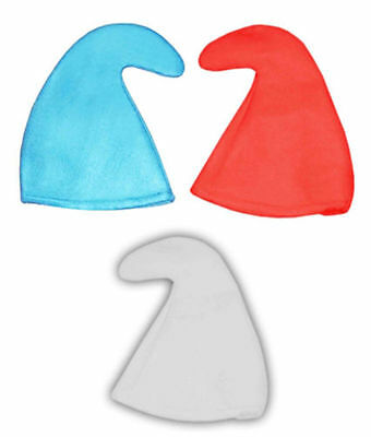 SMURF HAT SMURFETTE GNOME ELF HAT 80'S FANCY DRESS STAG HEN PARTY BLUE WHITE RED - Red Smurf Hat