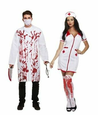 HALLOWEEN BLOODY DOCTOR & SEXY NURSE COUPLE COSTUME ADULT Fancy Dress Zombie UK
