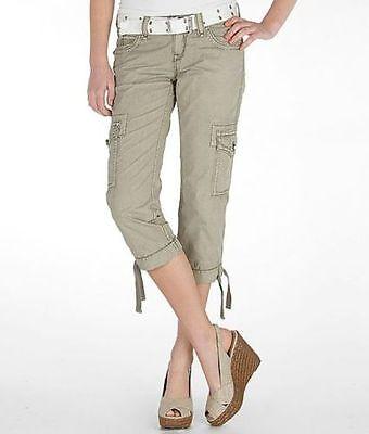 Rock Revival Jeans Mid Rise Khaki Cargo Cropped Capri Pants 24 27 NWT/DEFECT - Khaki Capri Jeans